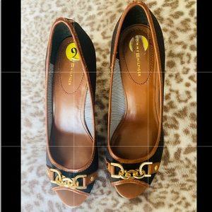 Blue Denim Peep-toe wedges size 9